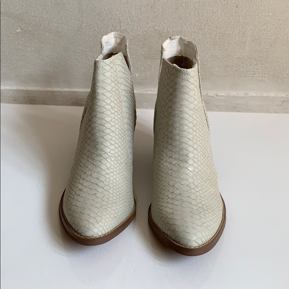 Not Rated Shoes - Ivory Snake Skin and Faux Suede Heeled Bootie